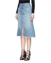 T By Alexander Wang - Blue Seamed A-line Denim Skirt - Lyst