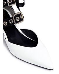 Self-Portrait - White X 'susa' Eyelet Strappy Patent Leather Pumps - Lyst