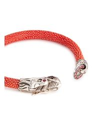 John Hardy - Red Sapphire Ruby Silver Naga Stingray Cord Bracelet - Lyst