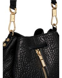 Elizabeth and James - Black 'cynnie Sling' Grainy Leather Bucket Bag - Lyst