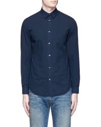 Maison Margiela - Blue Garment Dyed Cotton Shirt for Men - Lyst