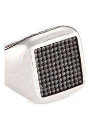 John Hardy - Metallic Rhodium Silver Dotted Jawan Signet Ring for Men - Lyst