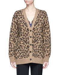 Alexander Wang | Brown Leopard Print Wool-cashmere Cardigan | Lyst