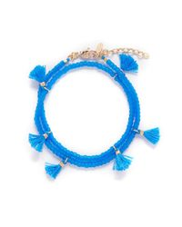 Shashi | Blue 'laila' Tassel Beaded Double Wrap Bracelet | Lyst