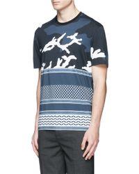 Neil Barrett - Blue Cotton Mixed Print T-shirt for Men - Lyst