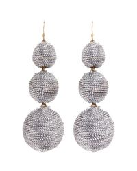 Kenneth Jay Lane | Metallic Graduating Threaded Sphere Drop Earrings | Lyst