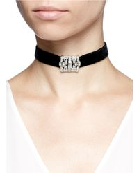 Kenneth Jay Lane - Metallic Glass Crystal Pavé Velvet Choker Necklace - Lyst