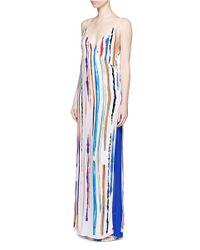 Emilio Pucci - White Watercolour Stripe Print Wrap Front Camisole Dress - Lyst