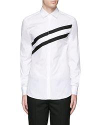 Lyst neil barrett diagonal stripe poplin tuxedo shirt in for Neil barrett tuxedo shirt