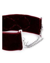 Fallon - Red 'victoriana' Faux Pearl Cubic Zirconia Velvet Choker - Lyst