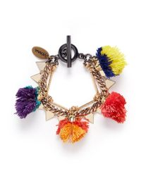 Venna | Multicolor Pompom Mixed Chain Bracelet | Lyst