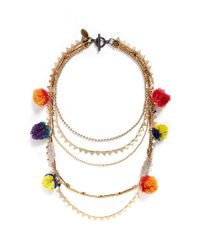 Venna | Multicolor Glass Crystal Pavé Charm Mixed Chain Necklace | Lyst