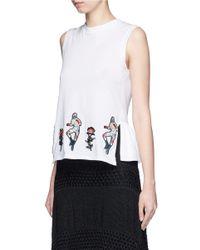 Markus Lupfer - White 'mexican Wrestler Embroidery Rose' Sleeveless Peplum T-shirt - Lyst