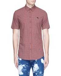 DSquared² | Red Logo Plate Gingham Check Shirt for Men | Lyst