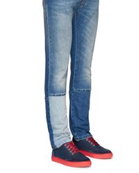 Harry's Of London - Blue 'mr Jones 2' Suede Trim Tech Leather Sneakers for Men - Lyst