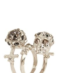Alexander McQueen - Metallic Star Dust Twin Skull Spiral Ring - Lyst