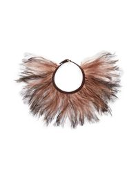 Valentino - Brown Feather Choker Necklace - Lyst