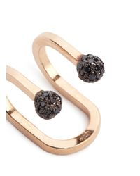 Kim Mee Hye - Multicolor 'double Rocker' Black Diamond 18k Rose Gold Lip Ring - Lyst