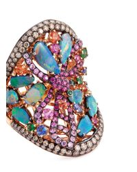 Wendy Yue - Metallic Diamond Sapphire Opal 18k Rose Gold Dragonfly Ring - Lyst