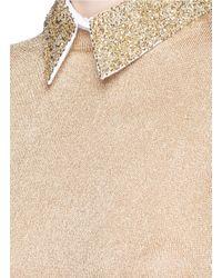 Alice + Olivia - Embellished Collar Metallic Sweater - Lyst