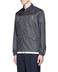 Kolor   Gray Contrast Yoke Floral Embroidered Coach Jacket for Men   Lyst