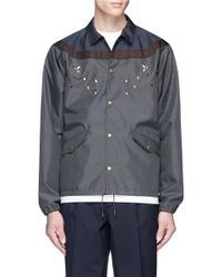 Kolor | Gray Contrast Yoke Floral Embroidered Coach Jacket for Men | Lyst