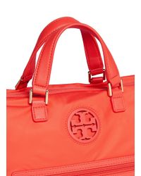 Tory Burch - Red Leather Trim Logo Nylon Satchel - Lyst