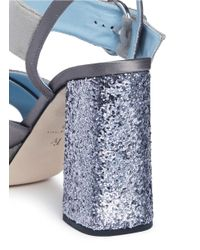 Frances Valentine - Gray 'dizzie' Glitter Heel Satin Velvet Platform Sandals - Lyst
