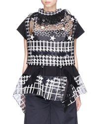 Sacai - Black Fringe Neck Lace Organza Shirt - Lyst