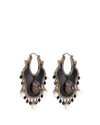 Alexander McQueen | Metallic Swarovski Crystal Baroque Pearl Fan Earrings | Lyst
