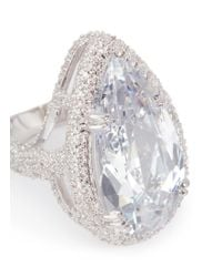 CZ by Kenneth Jay Lane - White Pear Cut Cubic Zirconia Pavé Statement Ring - Lyst