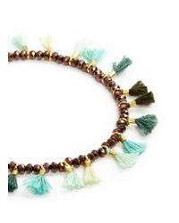 Shashi - Metallic 'jaime' Tassel Beaded Bracelet - Lyst