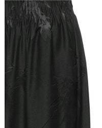 Ms Min - Black Bamboo Leaf Silk Jacquard Wide Leg Pants - Lyst