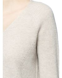 Vince - Multicolor V-neck Wool-cashmere Ribbed Sweater - Lyst