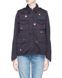 Tu Es Mon Tresor - Blue 'future' Glass Crystal Star Charm Canvas M-65 Field Jacket - Lyst