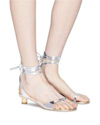 Tibi - Metallic 'scott' Ankle Tie Mirror Leather Sandals - Lyst