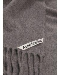 Acne - Gray 'canada Skinny' Fringe Wool Scarf - Lyst