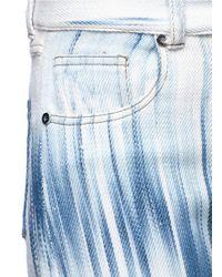 Faustine Steinmetz - Blue Frayed Cuff Streak Effect Cropped Merino Wool Pants - Lyst