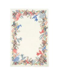 Franco Ferrari - Multicolor 'tarth' Woodland Animal Print Border Wool-silk Scarf - Lyst