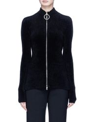 Emilio Pucci - Black Glass Crystal Embellished O-ring Zip Chenille Cardigan - Lyst