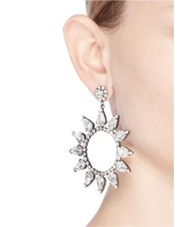 Kenneth Jay Lane - White Glass Crystal Cutout Circle Drop Earrings - Lyst
