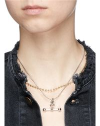 Eddie Borgo - Metallic 'barbell Toggle' Beaded Chain Pendant Necklace - Lyst