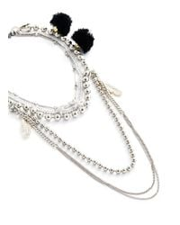 Venna - Metallic Multi Chain Pompom Necklace - Lyst