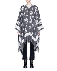 Alexander McQueen - Gray Skull Jacquard Wool-cashmere Cape - Lyst