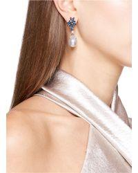 LC COLLECTION - Metallic Diamond Alexandrite Pearl Platinum And Silver Circular Drop Earrings - Lyst