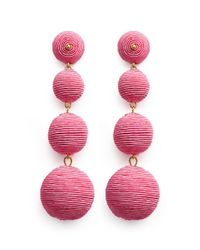 Kenneth Jay Lane - Pink 'carnival' Threaded Sphere Drop Clip Earrings - Lyst