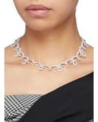 HEFANG - Metallic 'classical Lace' Cubic Zirconia Silver Necklace - Lyst