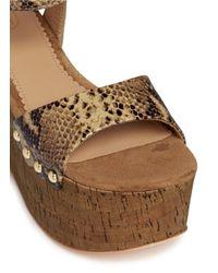 Ash - Multicolor 'capri Bis' Snake Effect Leather Cork Platform Sandals - Lyst