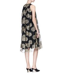 Co. - Black Glitter Floral Print Mesh Shift Dress - Lyst