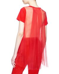 Xiao Li - Red Mesh Back High-low T-shirt - Lyst